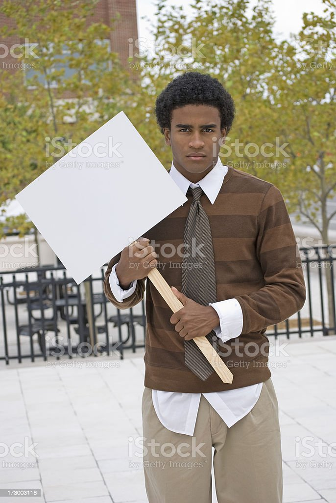 African American with blank picket sign royalty-free stock photo