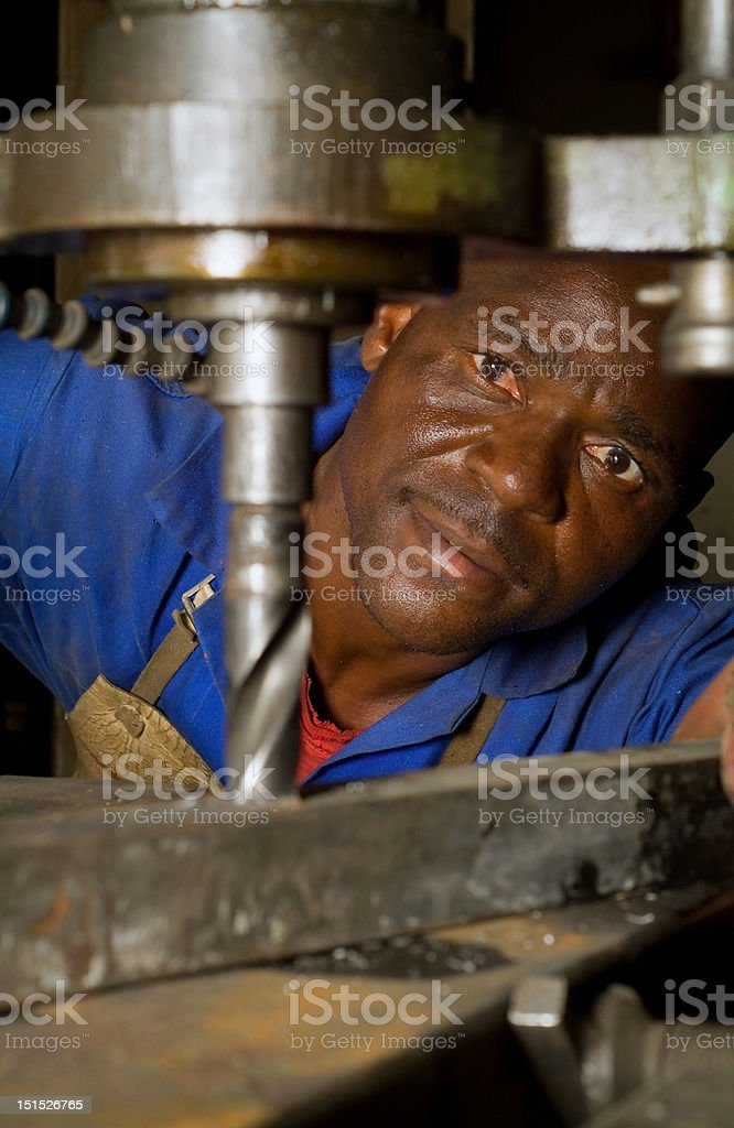 African American with drill press royalty-free stock photo