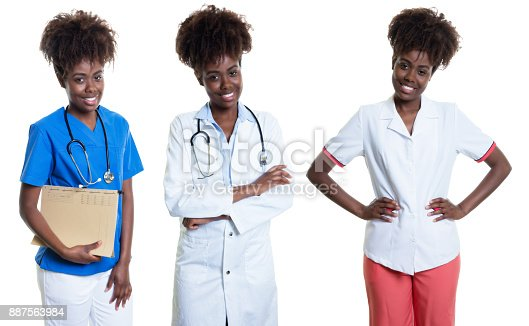African american woman as nurse and doctor and female pharmacist on an isolated white background for cut out