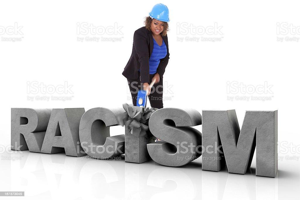 Femme afro-américaine se briser un texte 3d Racisme - Photo