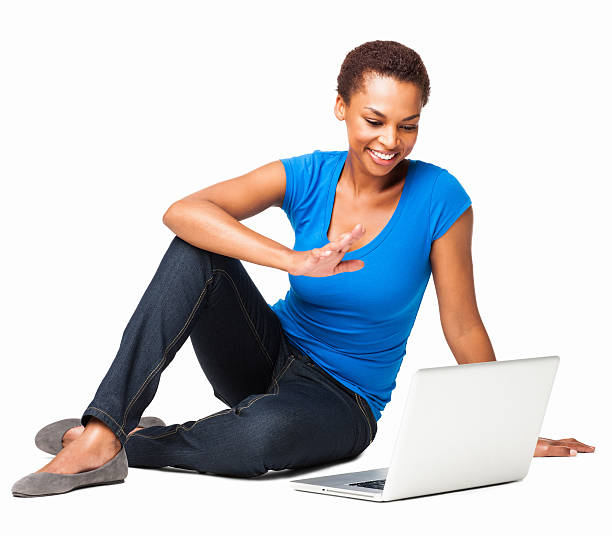 African American Woman Chatting Online - Isolated stock photo