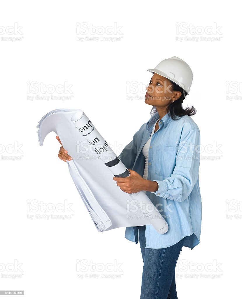 African American Woman Construction Manager Isolated on White royalty-free stock photo