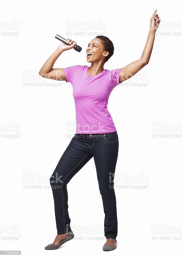 African American Woman Dancing And Singing - Isolated stock photo