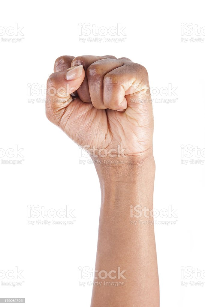 African American woman Hand with clenched fist stock photo
