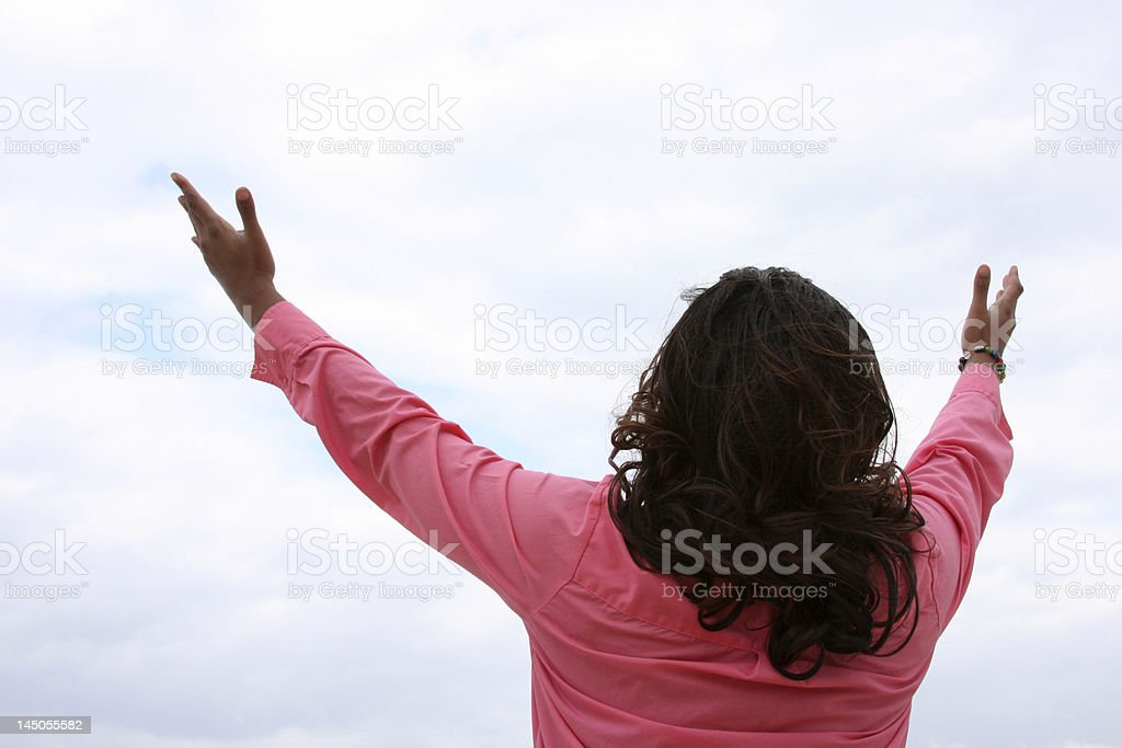 African American Woman Hands In Air royalty-free stock photo