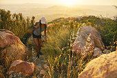 istock african american woman hiking rocky trail near san diego california 849486990