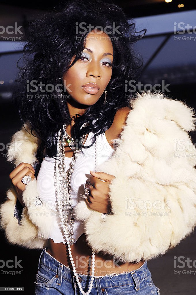 African American Woman Hip Hop Vibe royalty-free stock photo