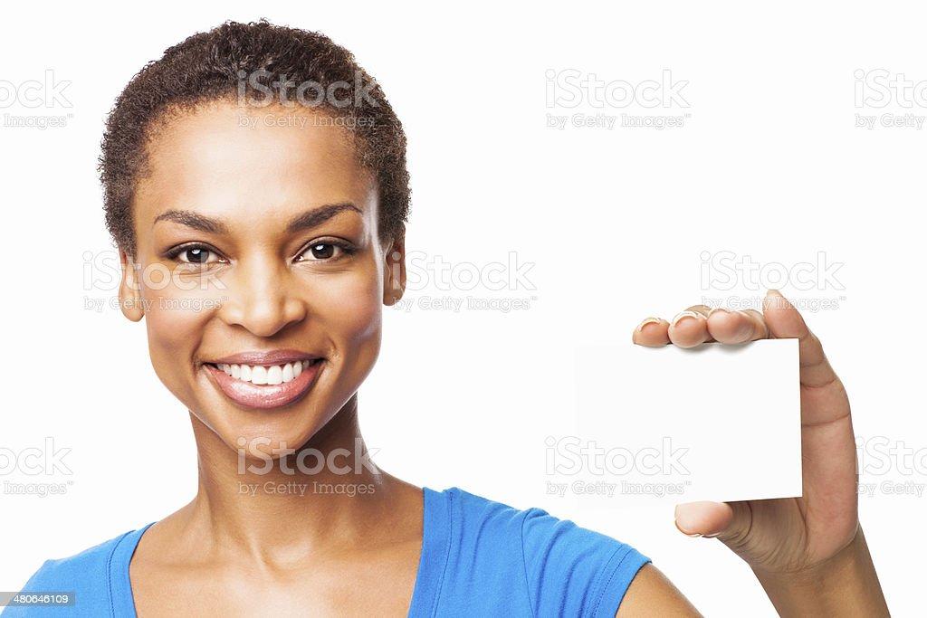 Afro Amricaine Femme Tenant Une Carte De Visite Vierge Isol Photo Libre Droits