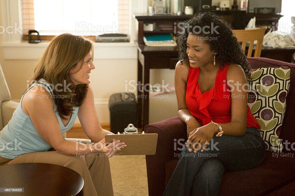 African American Woman in Counseling Session stock photo