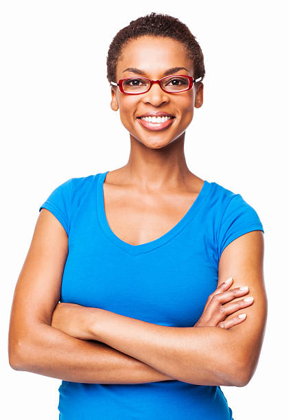 African American Woman In Glasses Smiling - Isolated stock photo