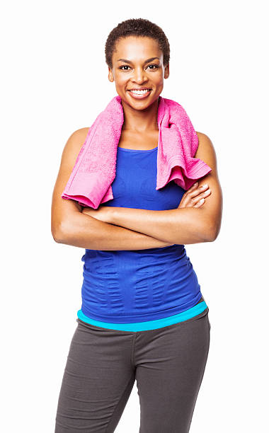 african american woman in sports wear - isolated - black woman towel workout bildbanksfoton och bilder