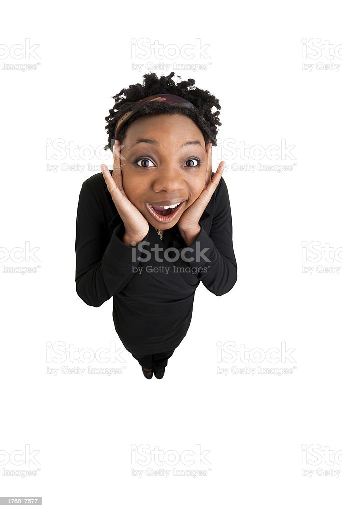 African American Woman Is Happily Surprised royalty-free stock photo