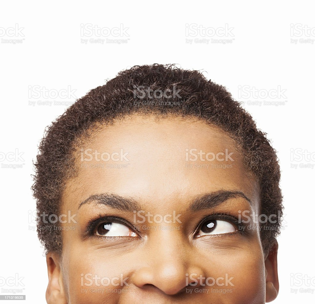 African American Woman Looking Up - Isolated stock photo