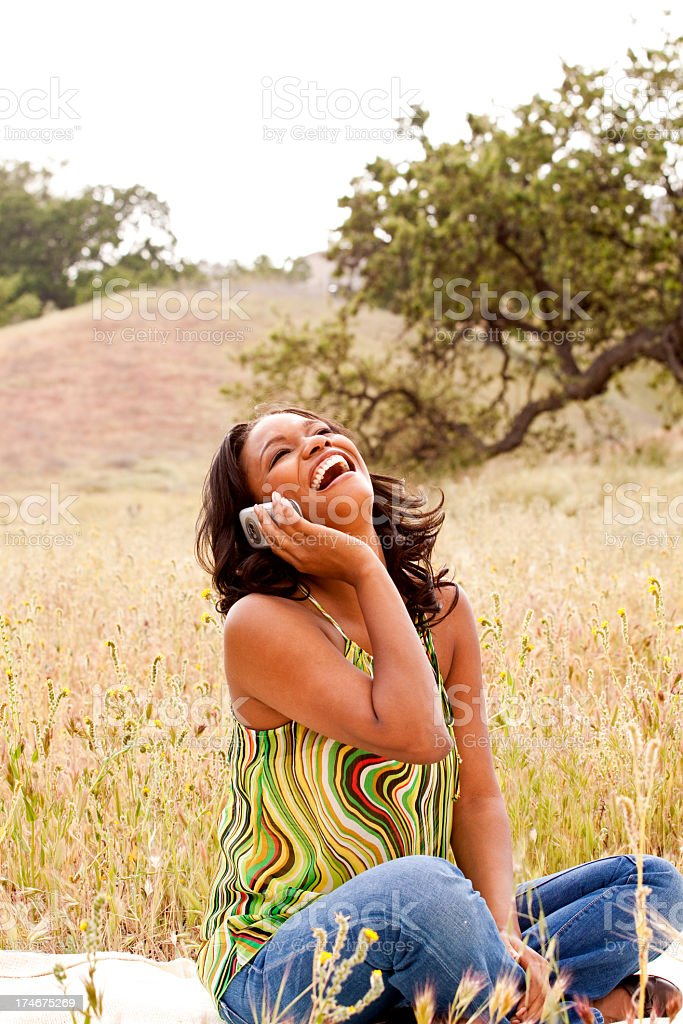 African American woman talking on the phone royalty-free stock photo