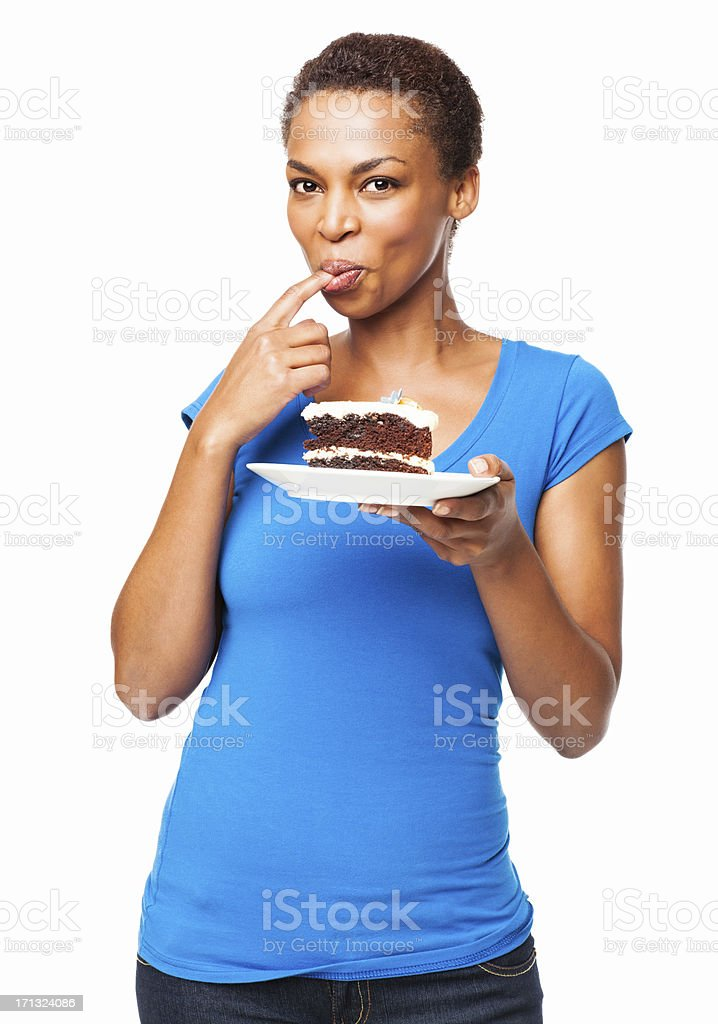 African American Woman Tasting Chocolate Cake- Isolated stock photo