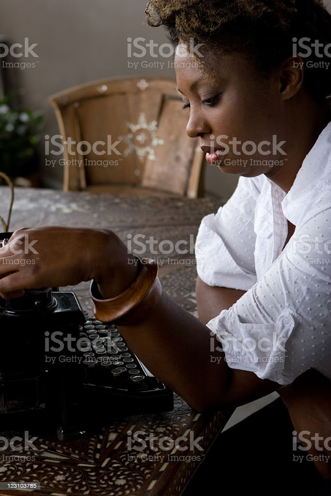African American woman typing royalty-free stock photo