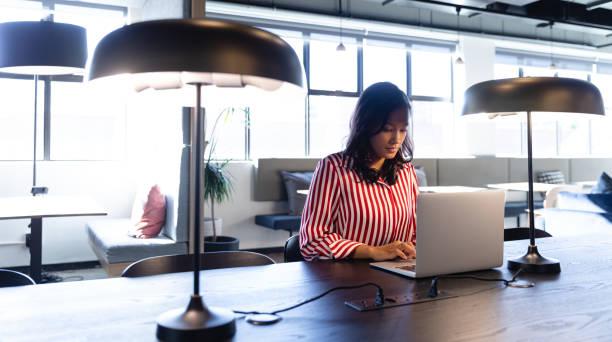 Afroamerikanische Frau mit ihrem Laptop – Foto
