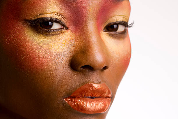 African American Young Woman Beauty Portrait, Close Up stock photo