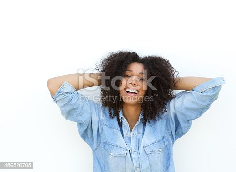 istock African american woman with hands in hair 486526705