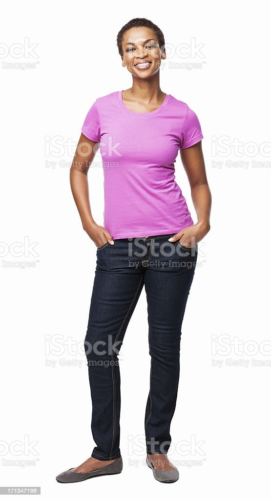 African American Woman With Hands In Pockets - Isolated stock photo