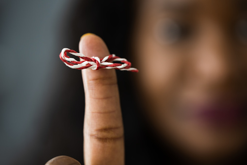 African American Woman With Memory Ribbon. Don't forget. Mind Help