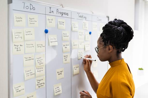 African American Woman Writing Kanban Plan stock photo