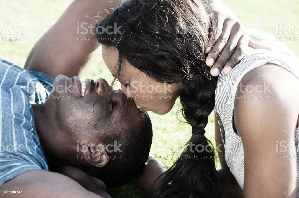 African american young couple in love stock photo