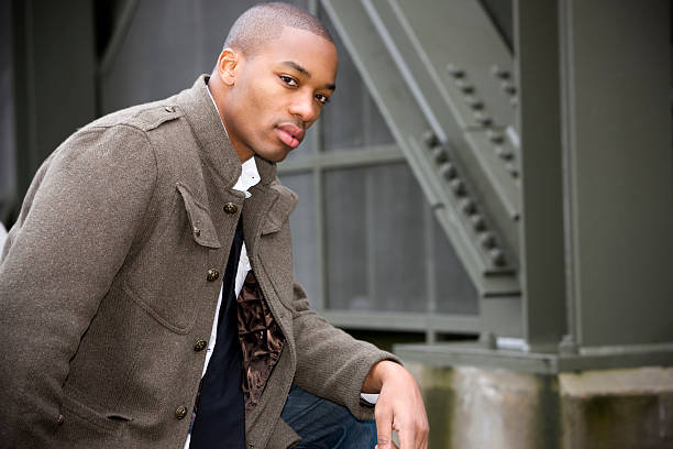African American Young Man Fashion Model Downtown, Copy Space stock photo