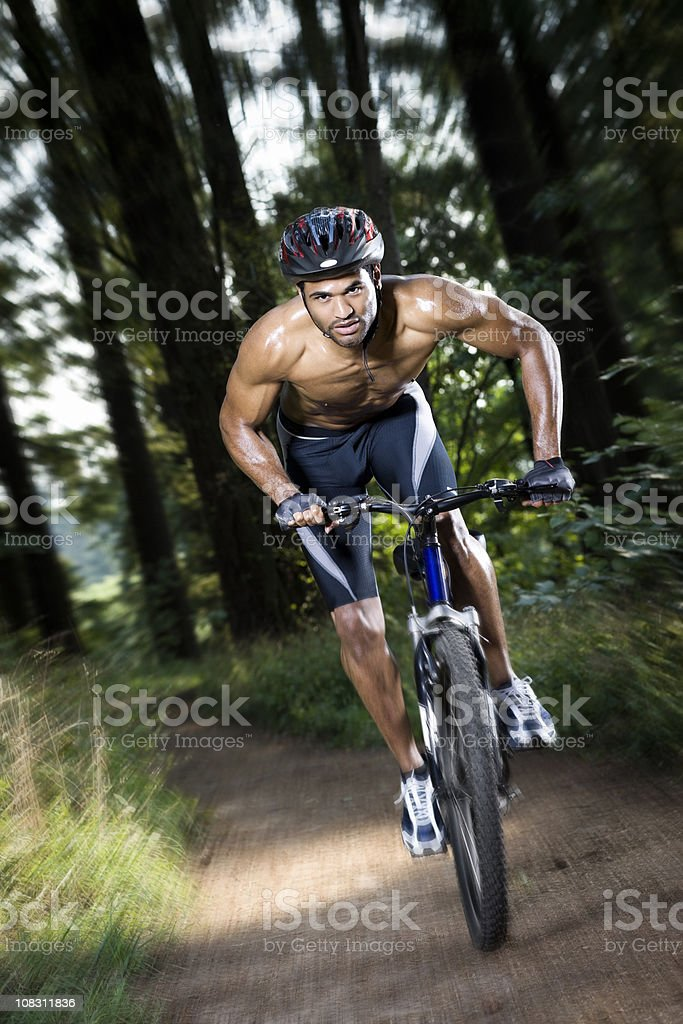 African American Young Man on Mountain Bike, Movement, Copy Space royalty-free stock photo