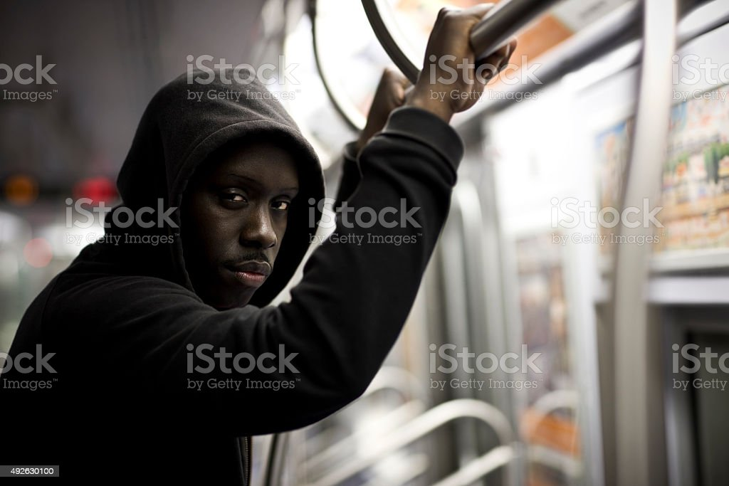 African American Young Man Portrait in City Subway, Copy Space royalty-free stock photo