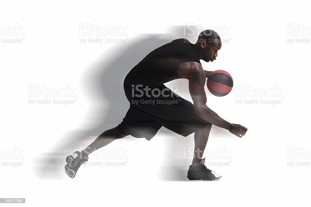 African American Young Man Running with Basketball, Motion Blur royalty-free stock photo