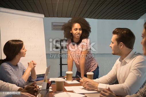 istock African american young project manager coach speaking at team meeting 1135346403