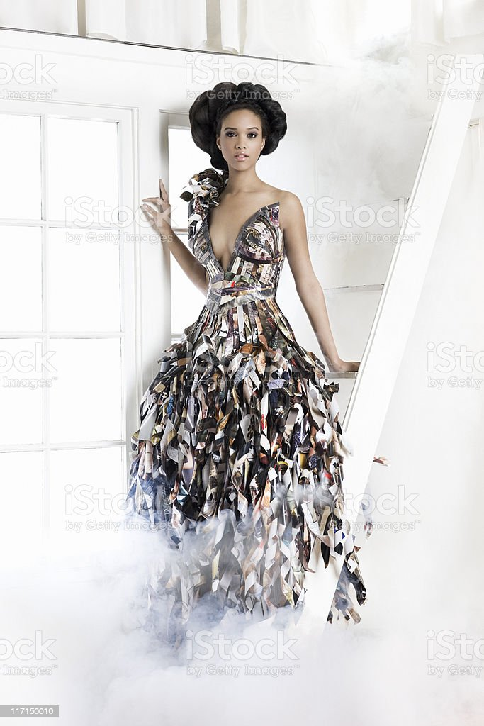 African American Young Woman Fashion Model in Paper Gown stock photo