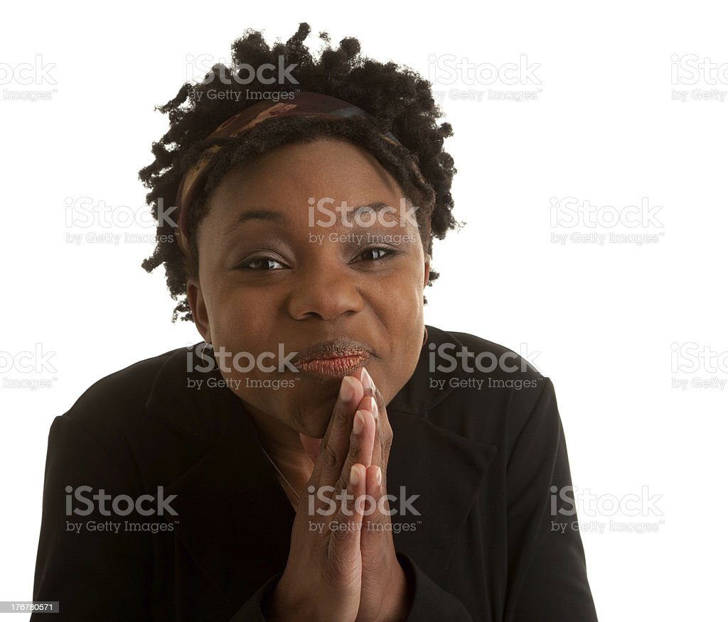 African American Young Woman Has Look of Anticipation royalty-free stock photo