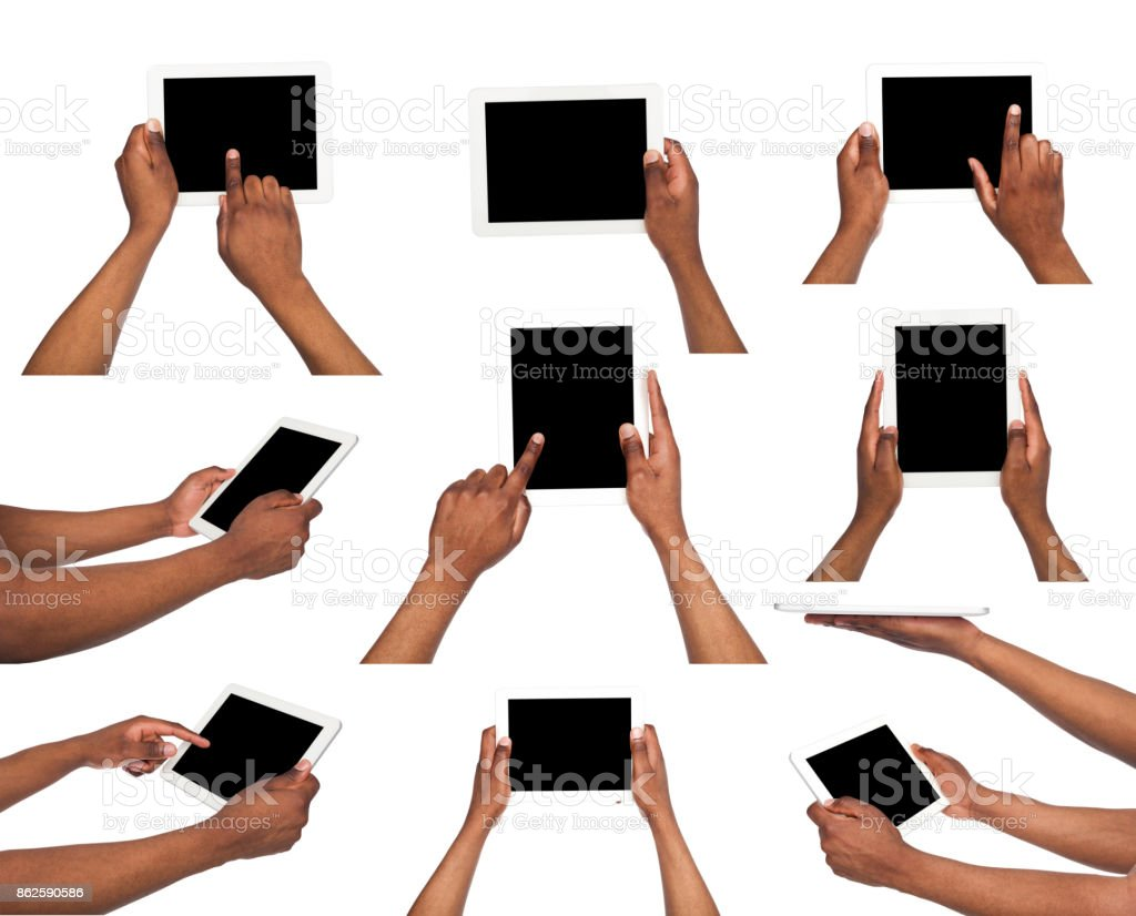 African american's hand holding tablet stock photo