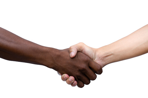 African and American shaking hands isolated on white background with clipping path