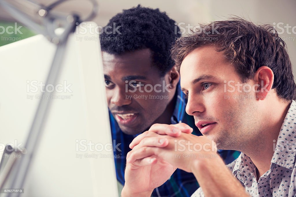 African and Caucasian men working together looking at computer. stock photo