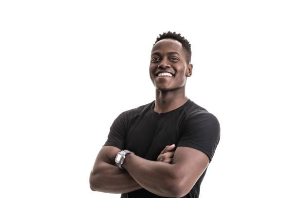 afrikanischer sportler porträt - mann freisteller stock-fotos und bilder