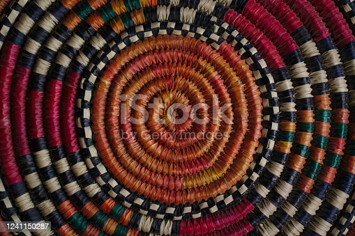 Close up shot of a traditional African-style basket weave pattern from Uganda
