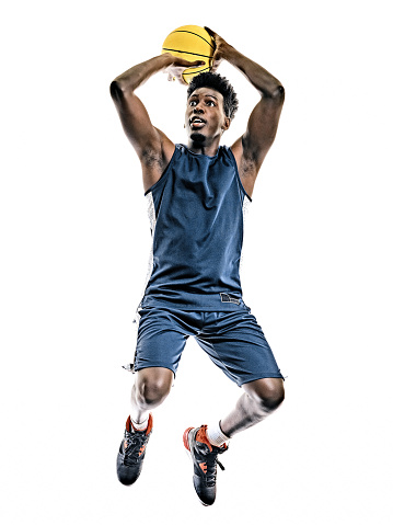 african basketball player young man isolated white background