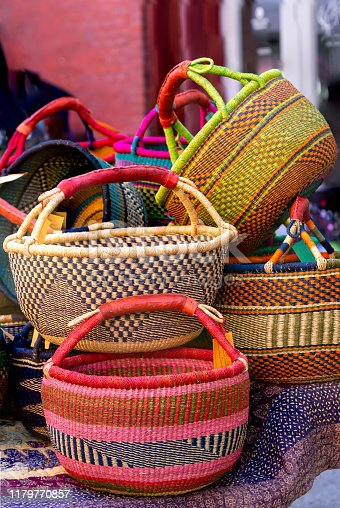 African baskets for sale at an outdoor market