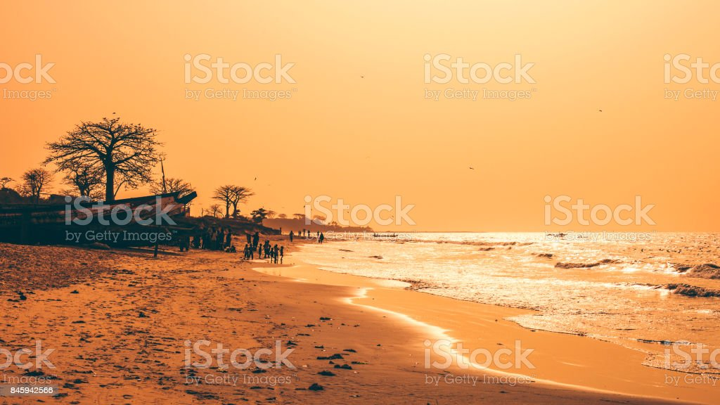 African beach at sunset time - The Gambia stock photo