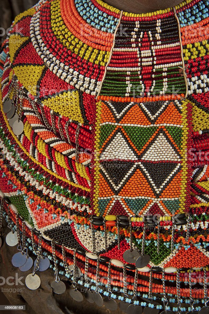 African Beaded Necklace. stock photo