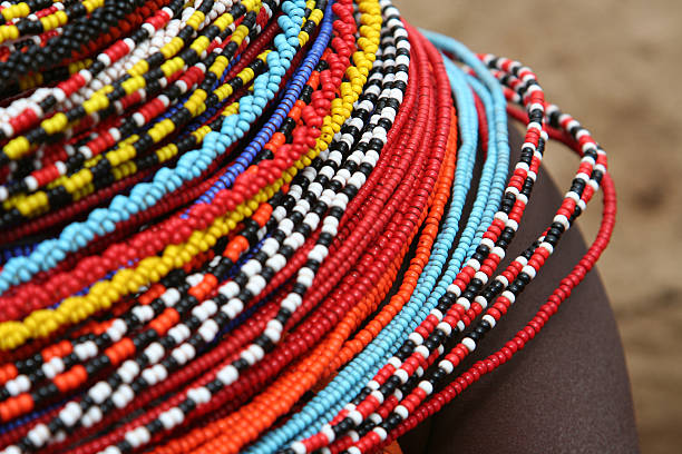 African Beaded Necklace stock photo