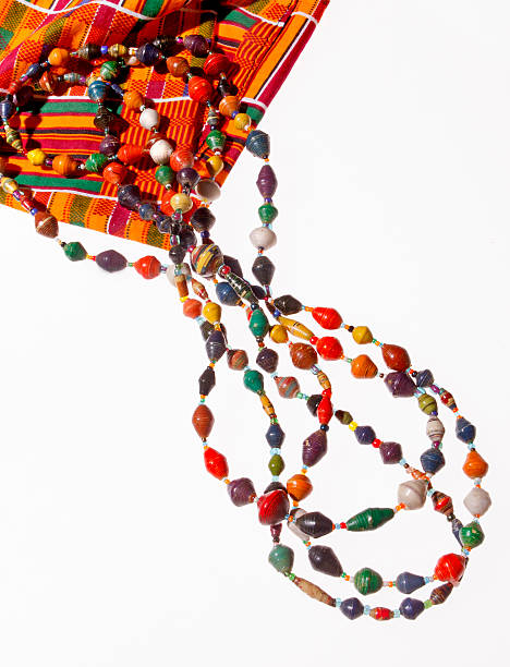 african beads - kente cloth stock photos and pictures