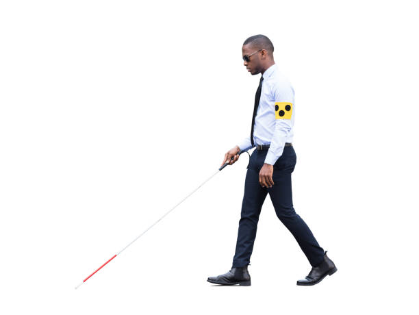 African Blind Man Walking With Stick stock photo
