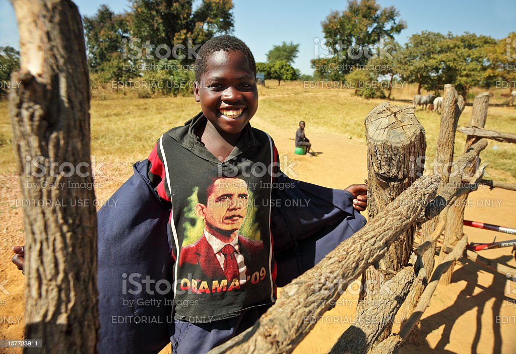 African Boy with Obama t-shirt stock photo