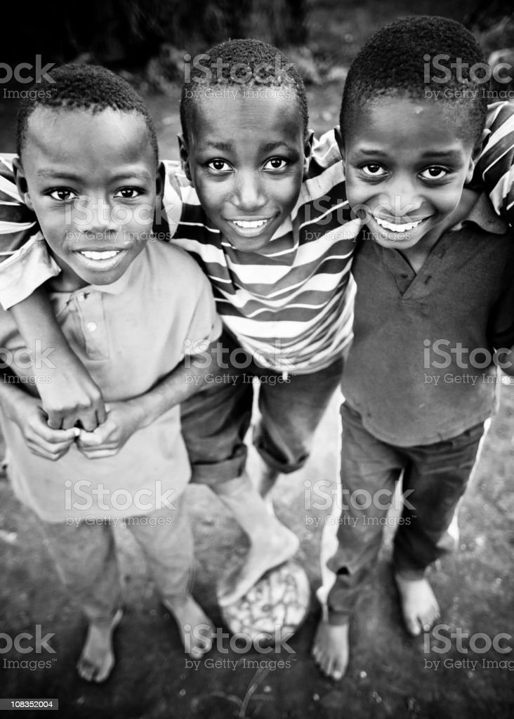 African Boys with a Soccer Ball stock photo