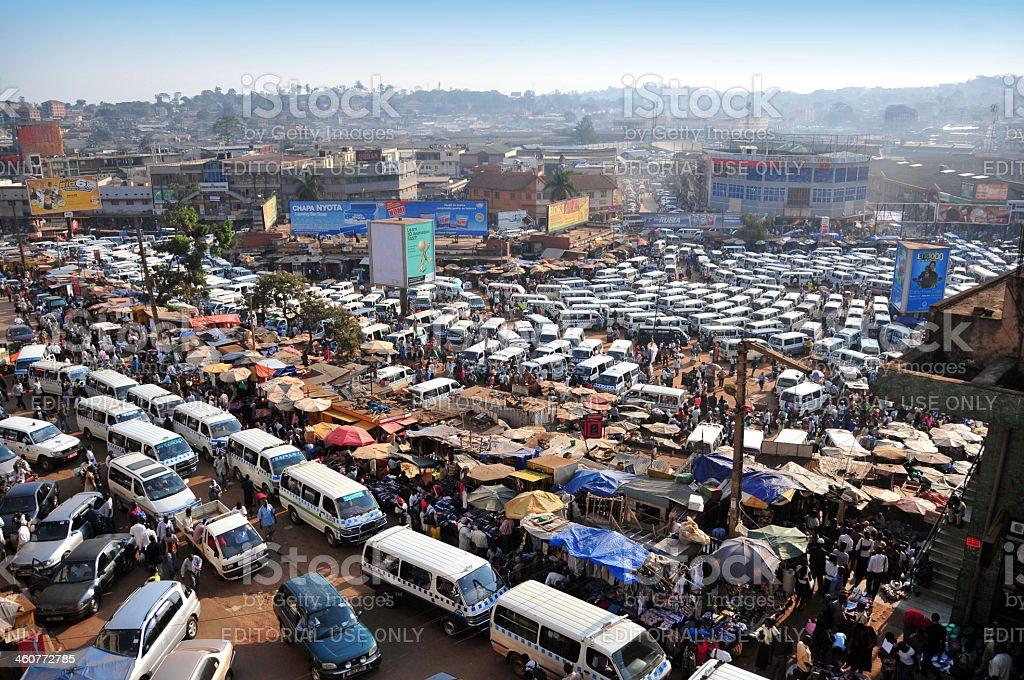 African bus station - share taxi mass, Kampala, Uganda stock photo