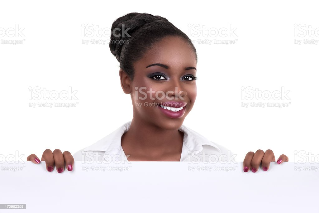 African Business Woman Sign stock photo